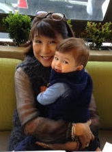 Audrey and her grandson.